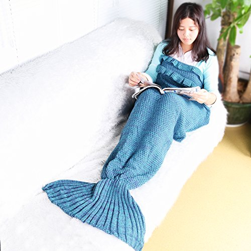 Xjamus Handmade Mermaid Tail Blanket for Kids or Adults,Soft Cozy Crochet Knitting Sleeping Camping Bag All Seasons,Birthday Gift Shawl Couch Throw Bl…