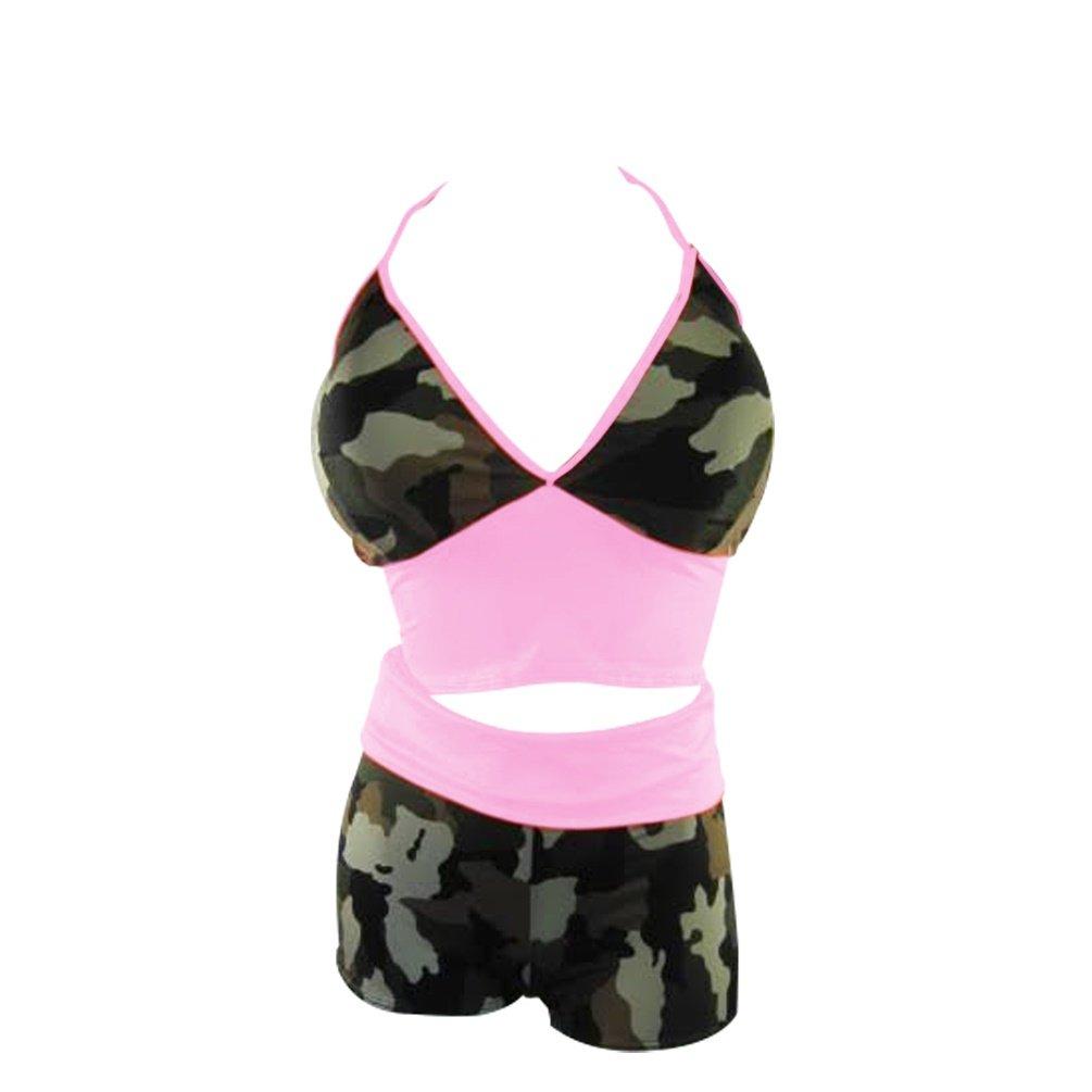 Yoga short set with tie Halter top (6X, CamouFlage / Pink)