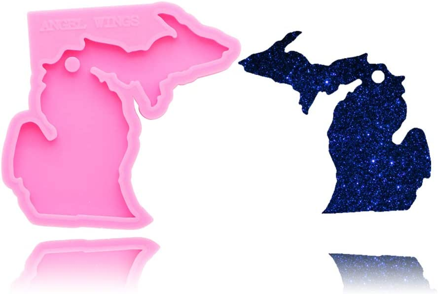 American State Michigan Keychain Silicone Mold Hole DIY Pudding Gum Paste Fondant Mold Desserts Candy Crystal Cupcake Cake Topper Decoration Chocolate Soap Mould Jelly Shots Handmade Ice Cream