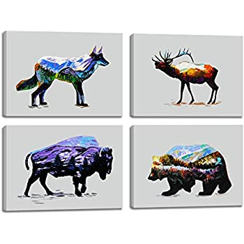Elk Deer Wolf Bear Bison Mountain Forest Abstract Vintage Print Canvas Wall Art Rustic Home Decor Decal Picture 4 Panel Poster for Living Room Bedroom Painting Framed Ready to Hang(16