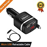 Micro USB Car Charger,SDBAUX Quick Charge(4.8A/24W)LCD Digital Display with 2.8 FT Retractable Cable for Samsung Galaxy S6 S5 Tab 4 Mini,HDX Nokia LG Google Nexus10 HTC Moto Huawei & Dual USB Adapter