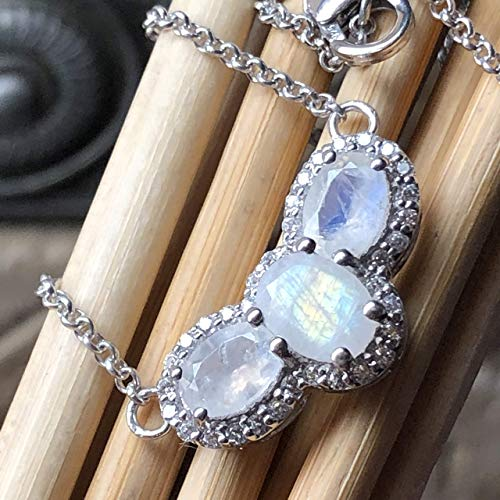 Genuine Rainbow Moonstone, White Sapphire 925 Solid Sterling Silver Pendant Necklace 18