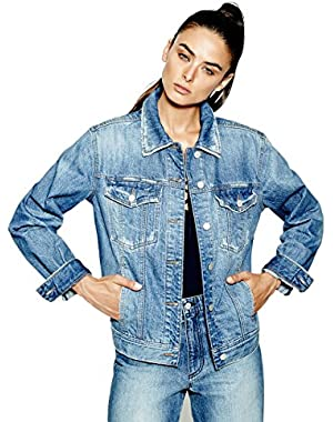 GUESS Women's Originals 90s Icon Embossed Denim Jacket