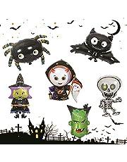 Halloween Balloons 6 Pcs Assorted Spider Bat Monster Skeleton Mylar Balloon Halloween Party Decoration