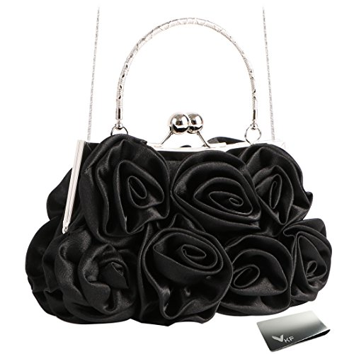 Missy K 7 Roses Clutch Purse, Satin, with Clasp Closure - Black, with kilofly Money Clip