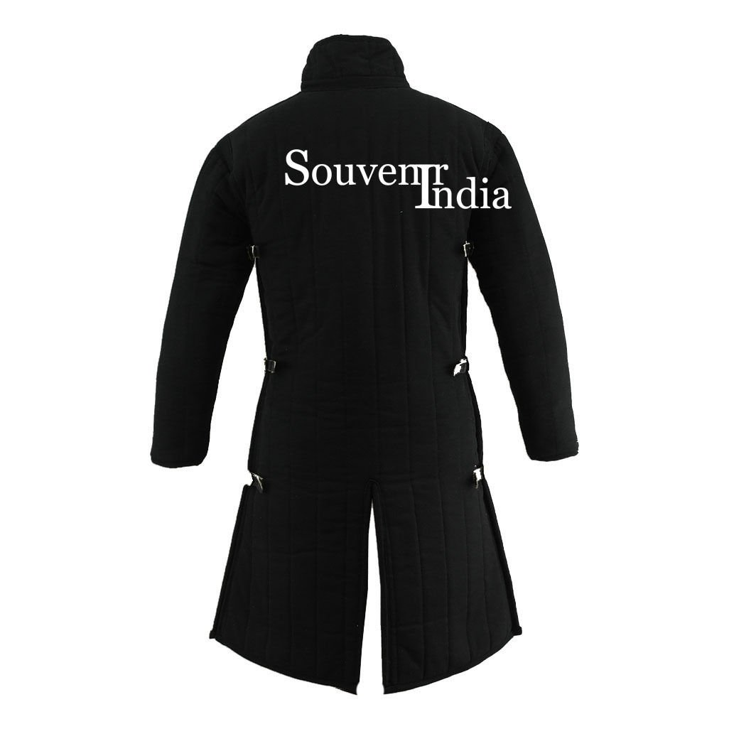 Medieval Thick Padded Full Length Gambeson Aketon Coat Armor - Black, Small