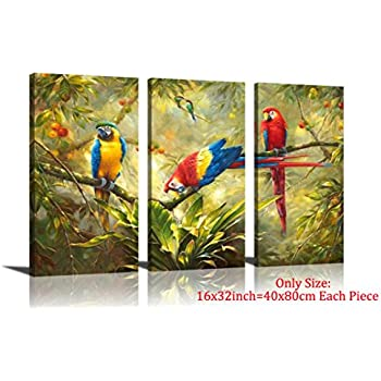 Amazon.com: Canvas Wall Art Birds Painting Parrot in Tropical Rain ...