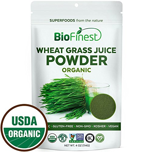 Biofinest Wheat Grass Juice Powder - Pure Freeze-Dried Chlorophyll Superfood - USDA Organic (4oz) - Dried Grass
