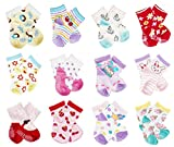CIEHER 12 Pairs Super Cute Baby Non Slip Ankle Cotton Socks with Grip for 9-36 Months Baby Infants 6 Month Socks, 12 Colors