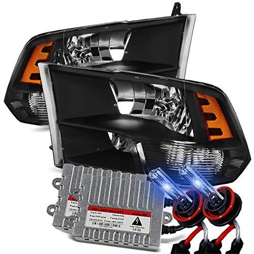 Modifystreet 10000K Xenon/Black 09-18 Ram 1500/10-18 Ram 2500/3500 Dual/Quad Crystal Headlights Left/Right Assembly