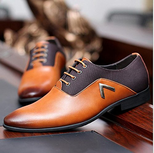 Men Pointed Toe Business Dress Formal Leather Shoes Flat Oxfords Loafers Slip On by Gaorui (Image #3)