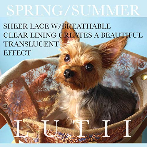 (dog carrier dog purse/tote bag Bronze lace, non-overheating dog carrier for warmer weather.)