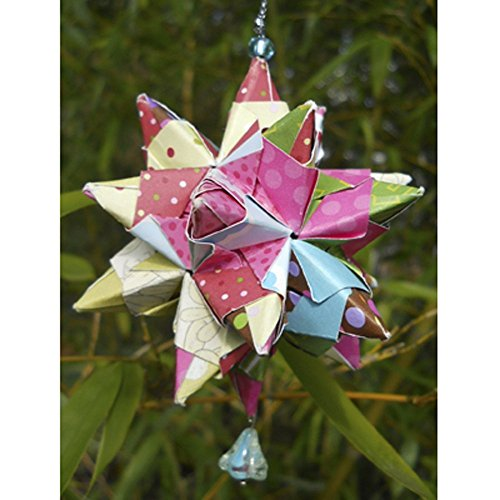Hand Folded Paper Origami Star Christmas Ornament Car Charm with Flower Bead, Multi colors (Flowers Kusudama Christmas)