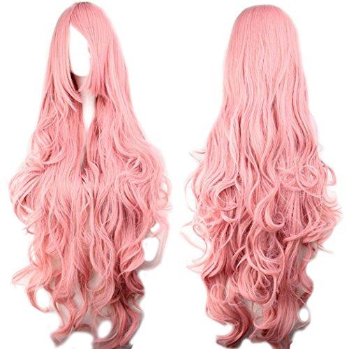Photo Pal 100cm Cosplay Perruque Longue Ondulée Rose Avec Frange Cheveux Synthétiques Halloween Déguisement