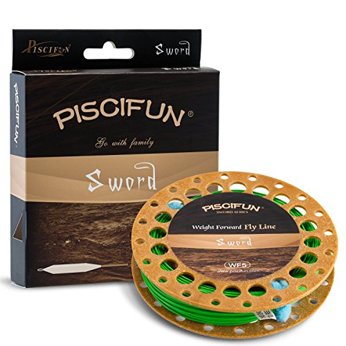 9wt Lines (Piscifun Sword Weight Forward Floating Fly Fishing Line with Welded Loop WF5wt 100FT Fruit Green)