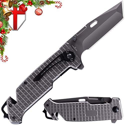 Spring Assisted Knife - Pocket Folding Knife - Military Style - Boy Scouts Knife - Tactical Knife - Good for Camping, Hunting Survival Indoor and Outdoor Activities Mens Gift (Grey 3) from Grand Way