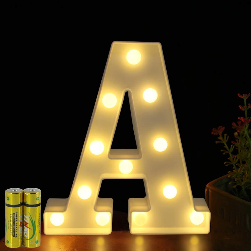 FUNRUI LED Marquee Letter Lights Sign 26 Alphabet Light Up Marquee Letters Lamp Sign for Bedroom Night Light Wedding Birthday Party Festival Valentine Battery Powered Home Bar Decoration (A)