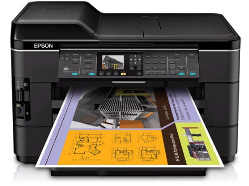 Epson WorkForce WF-7520 Wireless All-in-One Wide-Format Color Inkjet Printer, Scanner, Copier, Fax (C11CB58201) by Epson