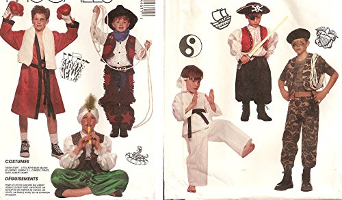 McCall's sewing pattern 4461 boy's costumes: boxer, cowboy, snake charmer / sultan, pirate, karate, soldier - Child size S (Child Sultan Costumes)