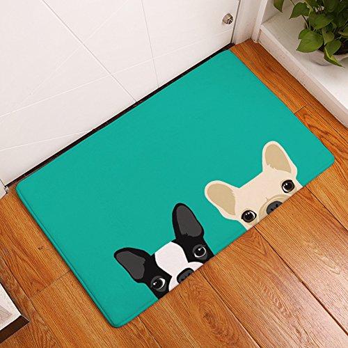 YJ Bear Thin Cartoon Puppy Dog Brothers Print Rectangle Doormat Kitchen Floor Runner Floor Mat Entry Mat Home Decor Carpet Indoor Deep Red 16