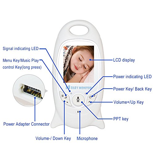 Lifecolor Wireless Video Baby Monitor 2.4GHz - Night Vision Camera and Two Way Audio System for Baby Safety & Security