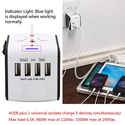 Travel Phone Charger Universal Travel Adapter - Multi Plug Converter World Outlet Adapter - 4 USB Andriod Wall Charger for US UK AU EU JP Laptop iPhone etc (White) by ASKALI (Image #2)