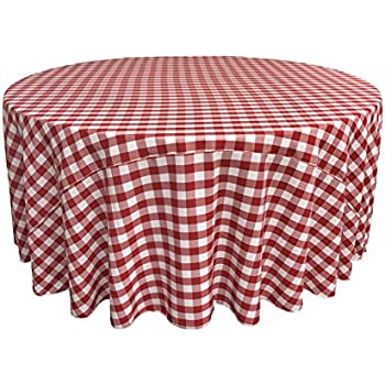 LA Linen 120 Inch Round Polyester Checkered Tablecloth / Pack Of 1 / White U0026
