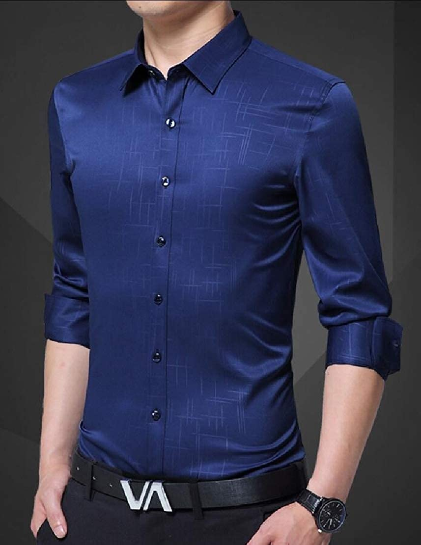 WSPLYSPJY Mens Business Solid Long Sleeve Button Down Shirts Top