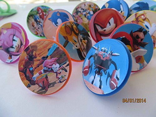 12-sonic-boom-rings-cupcake-toppers-birthday-party-favor-hedgehog-tails-sega