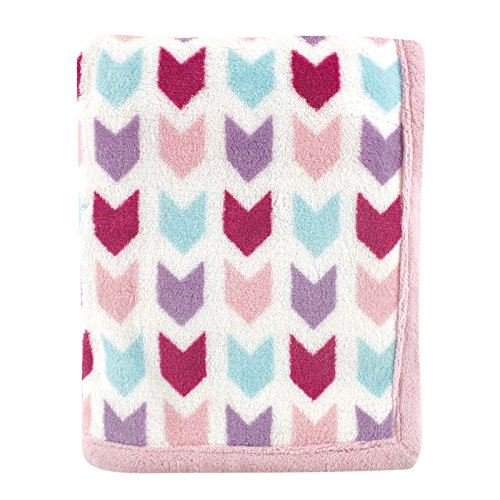 Hudson Baby Print Coral Fleece Blanket, Pink Chevron