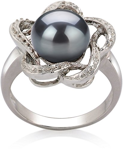 9mm Cultured Pearl Ring (PearlsOnly - Fiona Black 9-10mm AA Quality Freshwater 925 Sterling Silver Cultured Pearl Ring - Size-5)
