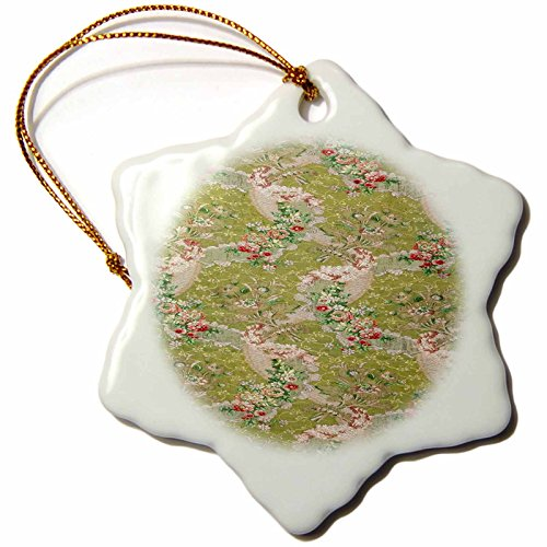 3dRose Florene - Vintage Textiles - Print of French Silk and Lace In Green and Pink - 3 inch Snowflake Porcelain Ornament (orn_193070_1) (Lace French Porcelain)