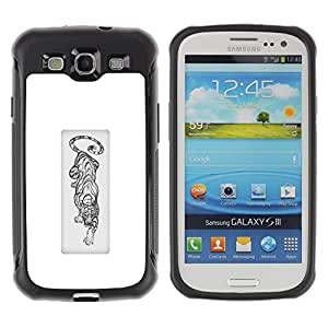 LASTONE PHONE CASE / Suave Silicona Caso Carcasa de Caucho Funda para Samsung Galaxy S3 I9300 / black white tiger African animal poster
