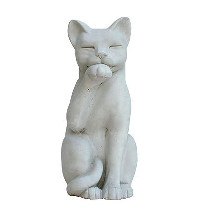 Contented Cat Garden Statue 12u201dH