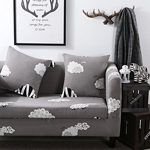 (JiaQi Elastic slipcover,Universal Vinyl Sets for Sofa,Sofa slipcovers 1-Piece Furniture Protector for 1 2 3 4 Cushions Sofa-V Love Seats)