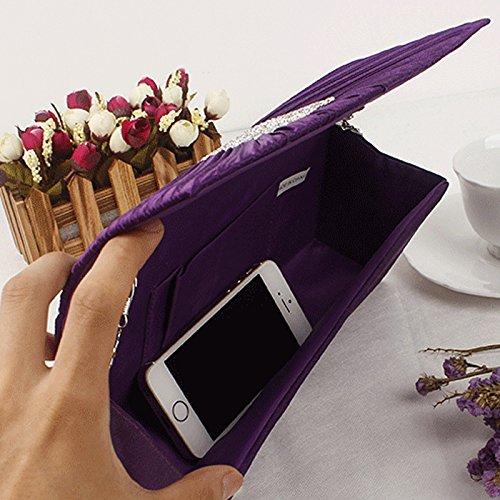Silver Clutch Bag Handle Good Bag Evening Prom Pleated Ring Purse Handbag Handbag Rhinestone Satin rOBrz