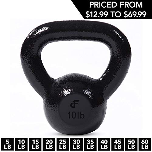 Kettlebell Weights Cast Iron by Day 1 Fitness - 10 Pounds - Ballistic Exercise, Core Strength, Functional Fitness, and Weight Training Set - Free Weight, Equipment, Accessories