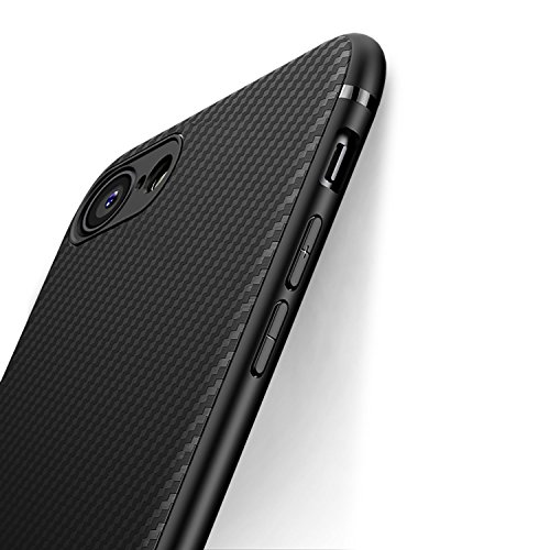 iPhone 7 Case iPhone 8 Case, iCOCEN [Carbon Fiber Texture Design] Durable Light Shockproof Cover Slim Fit Shell Soft TPU Silicone Gel Bumper Case for iPhone 7 (2016)/iPhone 8 (2017) 4.7 inch - Black