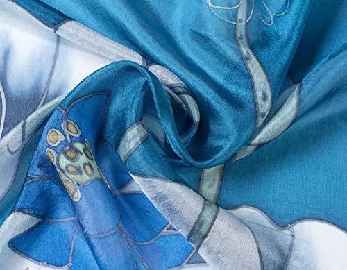 In 100 Loto Blu Invisible Seta Da Fiori Sciarpa World Di Colori Donna Vari XxXq1CIKfw