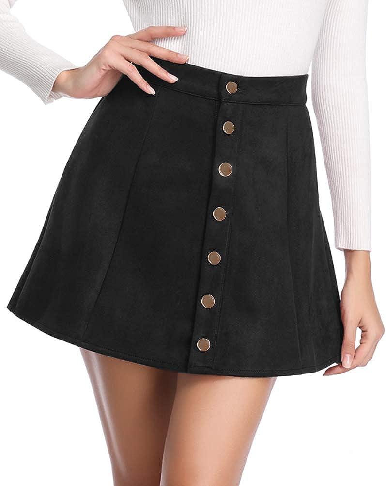 Ladies New Pleated Imitation Button Through Skirt Cream Back Elastic Waist