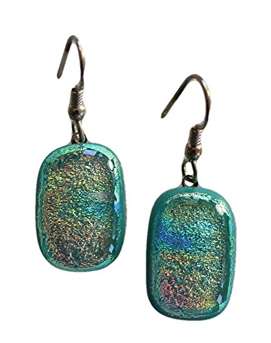[Jewels of Fire Dichroic Glass Drop Earrings in Pink,Golden on a Mint Green Background] (Dichroic Glass Earrings)