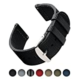 Archer Watch Straps | Premium Nylon Quick Release Replacement Watch Bands for Men and Women, Watches and Smartwatches (Black, 22mm)