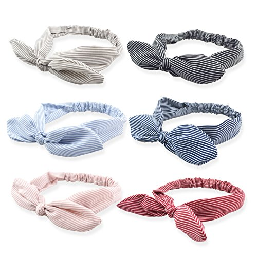 Floral Large Ships Bow (DRESHOW Bow Knotted Flower Headband Boho Floral Hair Band Facial Head Wrap Terry Cloth Yoga Sport Shower Headband Pack 6)