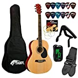 Tiger Beginners Acoustic Guitar Package - Natural