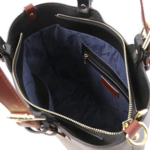 Cuir en Sac Main Leather Tuscany TLBag Bleu Noir Saffiano à foncé YHFR7x4