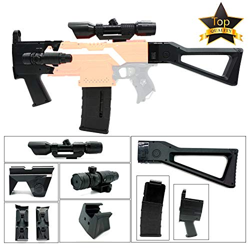 Wan Jing 5 in 1 Mods Kit Compatible with Nerf Stryfe Elite Attachments Fit for Worker Clips Toy (Black)