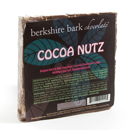 Artisan Cocoa Butter - Berkshire Bark Artisan Chocolate Bar - Cocoa Nuts (4 ounce)