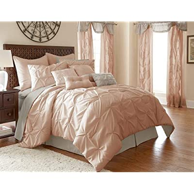 Image of Amrapur Overseas Aurora Pintuck 24-Piece Reversible Bed in A Bag, King, Blush Home and Kitchen