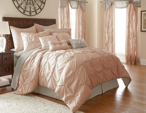 Amrapur Overseas Aurora Pintuck 24-Piece Reversible Bed in A Bag, King, Blush ()