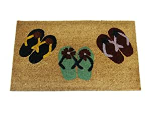 Geo Crafts 18-Inch x 30-Inch PVC Backed Coir Doormat, Flip Flop